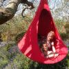 enojni cacoon visece gnezdo stol chilli red