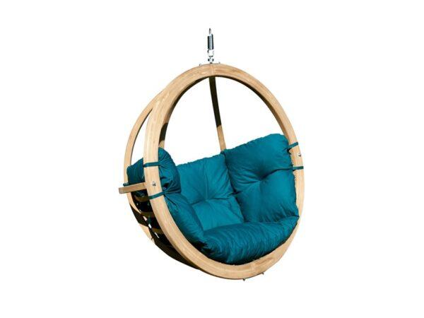 Leseni viseči fotelj Globo Swing Blue
